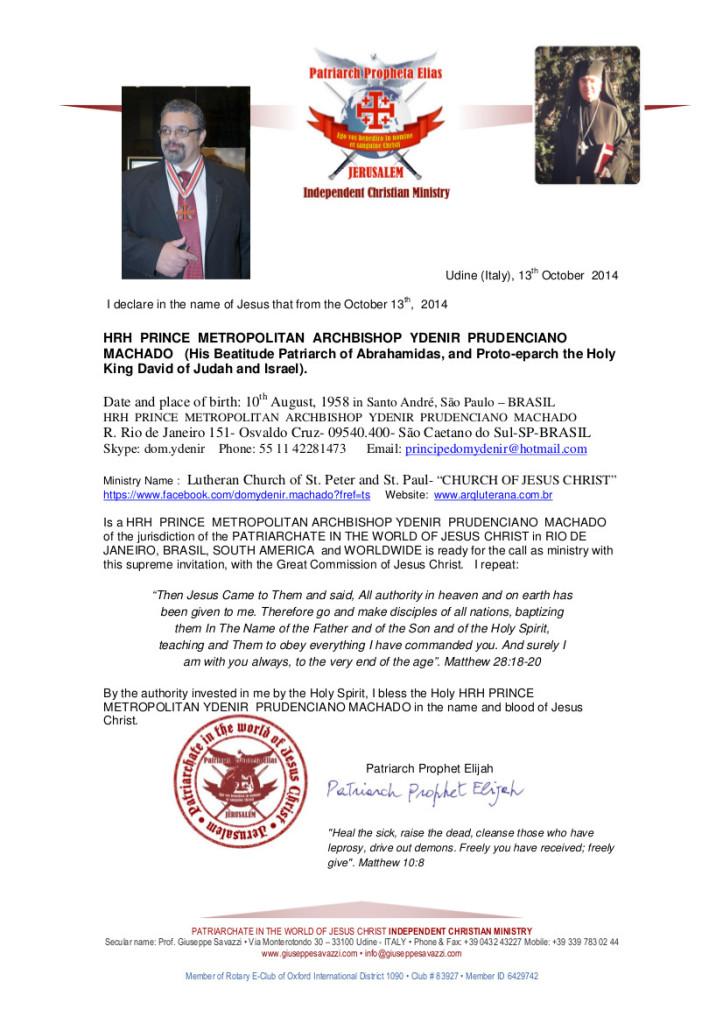 METROPOLITAN  ARCHBISHOP  YDENIR  PRUDENCIANO  -Ecclesiastical Certificate