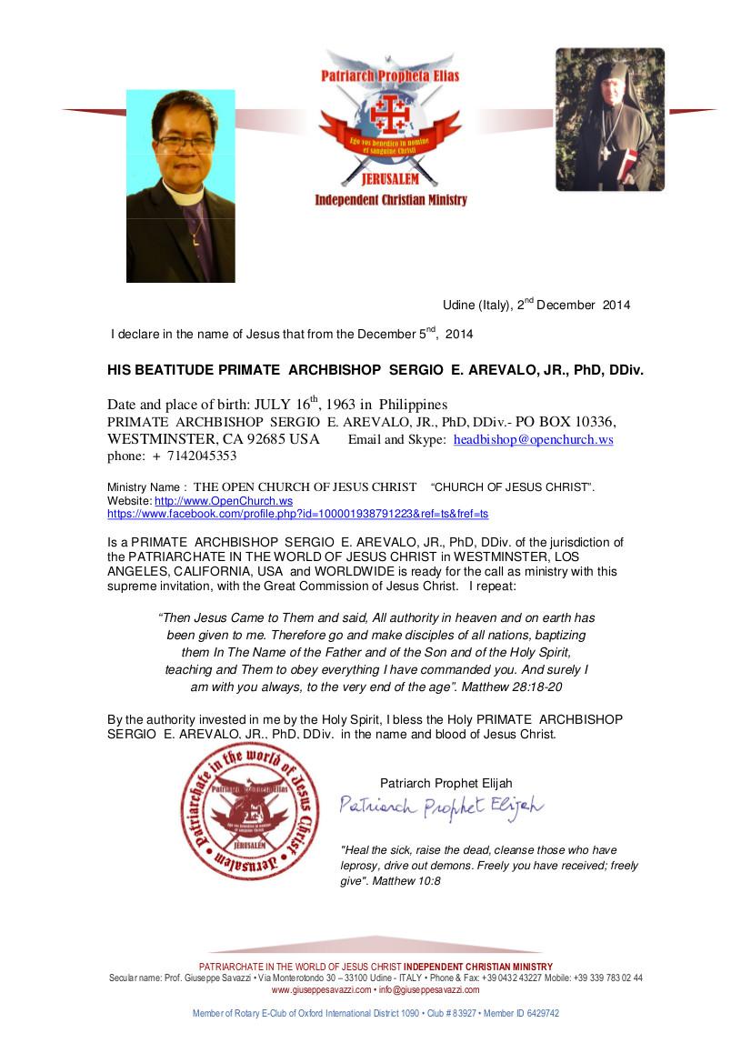 HIS BEATITUDE PRIMATE  ARCHBISHOP  SERGIO  E. AREVALO, JR., PhD, DDiv. Ecclesiastical Certificate