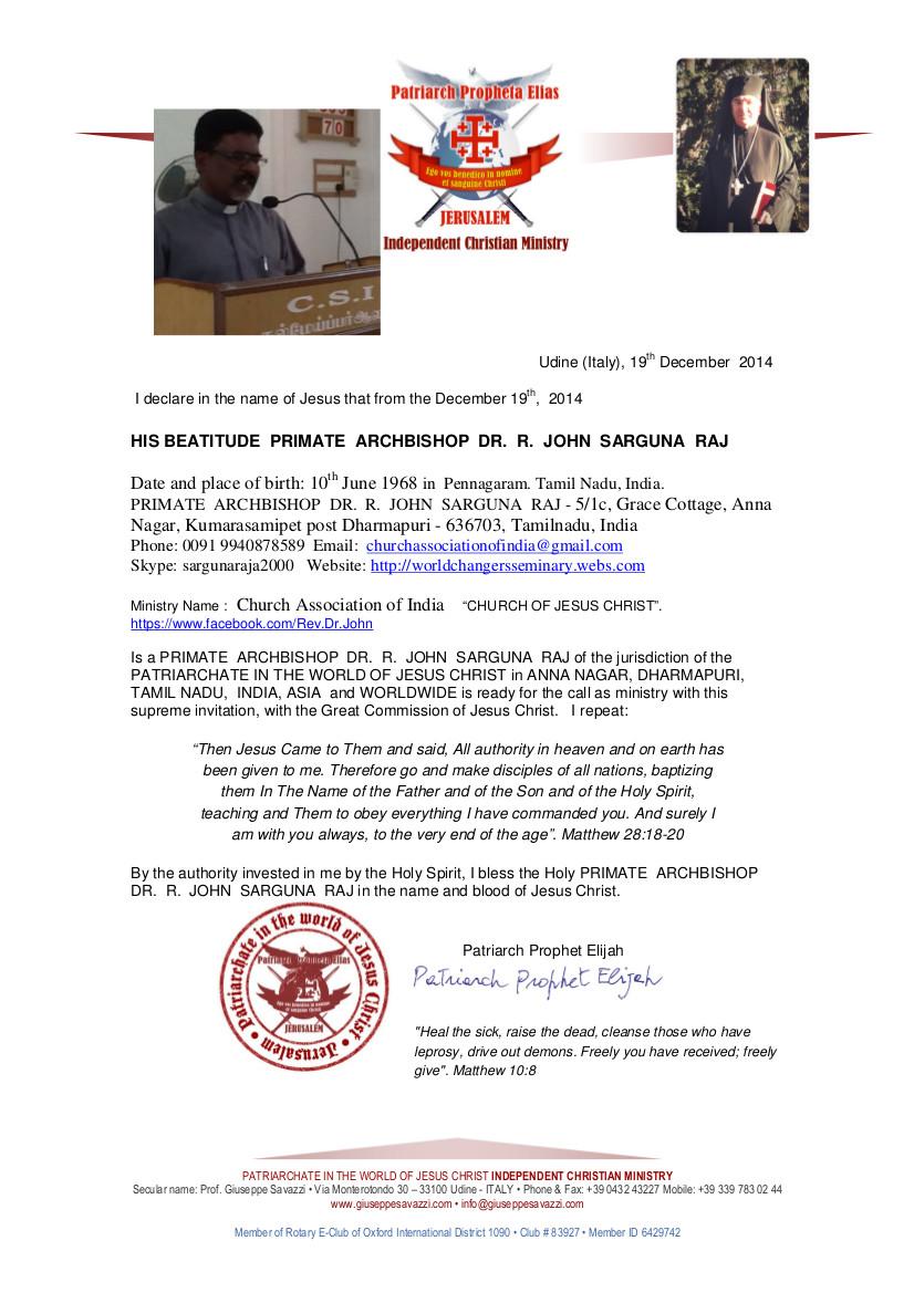 PRIMATE  ARCHBISHOP  DR.  R.  JOHN  SARGUNA  RAJ -Ecclesiastical Certificate