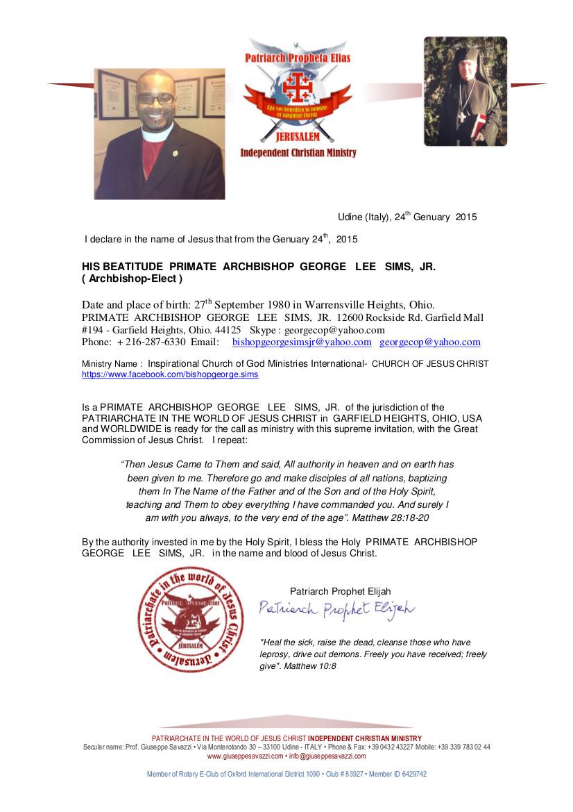 PRIMATE ARCHBISHOP GEORGE LEE SIMS,  JR.-Ecclesiastical Certificate
