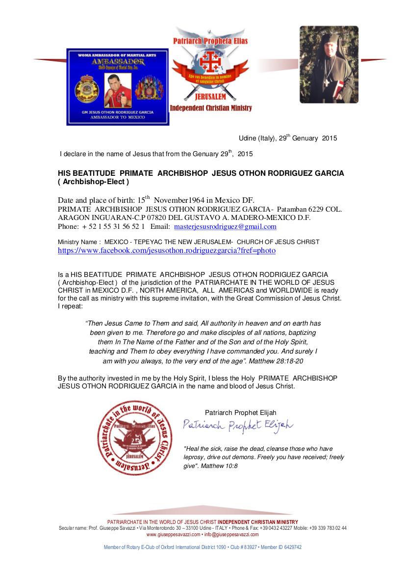 masterjesusrodriguez@gmail.com -Ecclesiastical Certificate